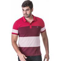 Camisa Polo Listrada Fio Tinto Vermelho Escuro 3bd33fa8e9007
