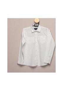 Camisa Social Teodoro Ml Infantil Masculina Algodão Casual Branco 8 Branco