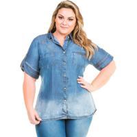 bad70705dd Camisa Confidencial Extra Plus Size Jeans Básica Manga Curta Feminina -  Feminino-Azul