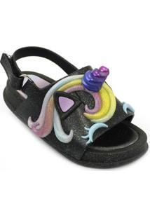 Sandália Plugt Mini Bizz Unicórnio Gliter Masculina - Masculino-Preto