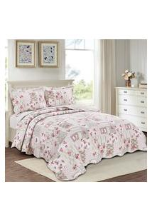 Colcha Queen Tune Camesa Evolution Patchwork 240X260Cm Rosa