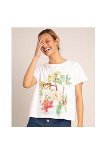 Camiseta De Algodão Natureza Assimétrica Manga Curta Decote Redondo Branca