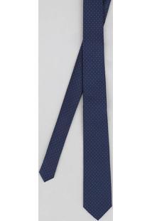 Gravata Masculina Texturizada Estampada De Poás Azul Marinho - Único