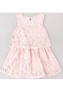 Vestido Infantil Em Renda Com Recorte Sem Manga Rosa