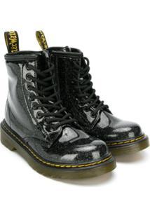 Dr. Martens Kids Ankle Boot Com Brilho - Preto