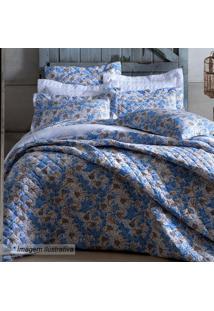 Jogo De Cama Em Malha Blue Flowers King Size- Azul & Brasultan