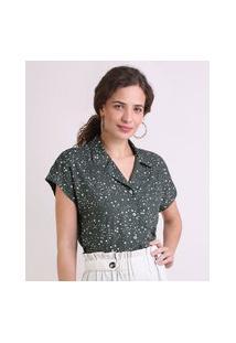 Camisa Feminina Estampada Estrelas Com Bolso Manga Curta Verde Escuro