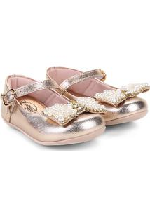 Sapato Infantil Klin Pérolas Princess Feminino - Feminino-Ouro Rosa