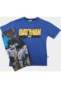 Pijama Infantil Fakini Camiseta+Bermuda Batman Masculino - Masculino