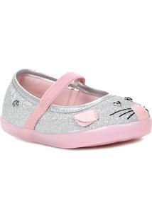 Sapato Pampili Infantil Para Bebê Menina - Prata