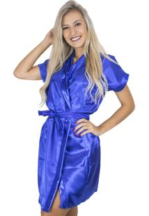 Robe Mvb Modas Noiva Roupão Cetim Personalizado Azul