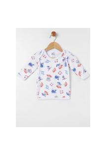 Pijama Estampado Infantil Para Bebê Menino - Branco