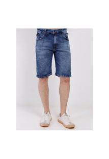 Bermuda Jeans Com Elastano Masculina Azul