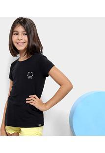 Camiseta Infantil Gatinho Dimy Candy Feminina - Feminino-Preto
