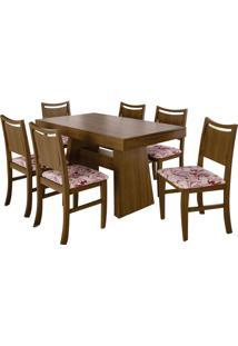 Mesa Extensível Extra 140Cm Imbuia Com 6 Cadeiras Slim Tecido Tulipa Caju