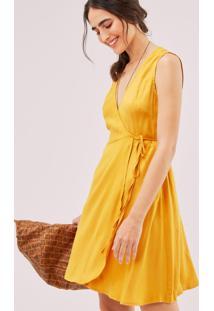 Vestido Curto Transpasse Viscose Satin Amarelo