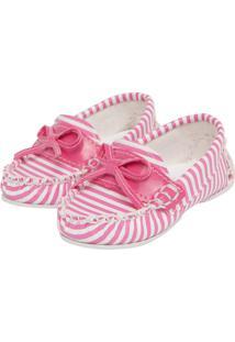 Mocassim Tricae Infantil Striped Rosa/Branco