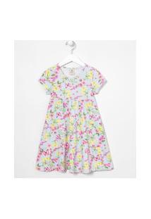 Vestido Infantil Floral Recortes Maria - Tam 5 A 14 Anos | Fuzarka (5 A 14 Anos) | Azul | 9-10