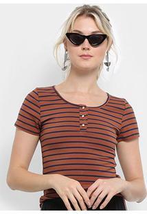 Camiseta Top Moda Listrada Feminina - Feminino-Marrom