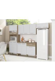 Cozinha Compacta Versalhes Nogal/White 12 Portas 1 Gaveta E Balcão Com Tampo - Kits Paraná
