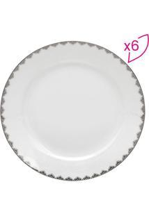 Jogo De Pratos De Sobremesa Bone China Minsk- Branco & Projemac