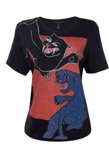 Camiseta Rosa Chá Panter Feminina (Preto, G)