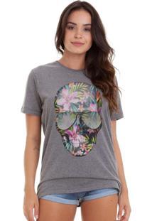 Camiseta Basica Joss Caveira Flores Colorida Chumbo