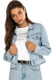 Jaqueta Azul Claro Cropped Oversized Jeans