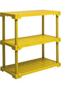Estante Cube Com 3 Prateleiras Amarelo