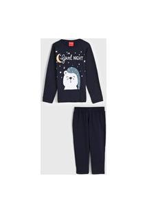 Pijama Tricae Longo Infantil Urso Azul-Marinho