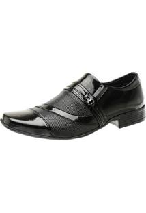Sapato Social Masculino Verniz Perfuros Ajustável Quadrado - Masculino-Grafite+Preto
