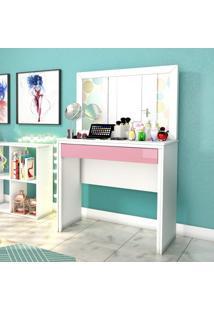 Penteadeira Com Espelho 1 Gaveta Twister Tcil Móveis Neve/Quartzo Rosa