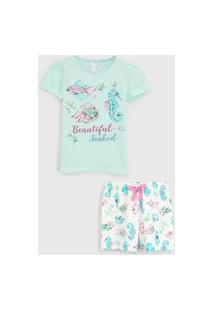 Pijama Malwee Liberta Curto Infantil Mar Verde/Off-White