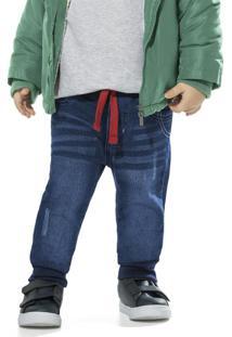 Calça Infantil Moletom Jeans Azul