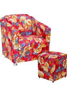 Poltrona Decorativa Para Sala Com Puff Laura Vermelho Estampado - Lyam Decor
