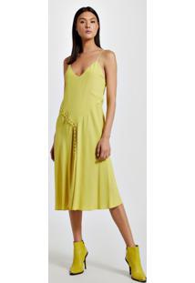 Vestido De Crepe Midi Canaletas Amarelo Yoko