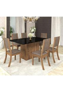 Conjunto Sala De Jantar Mesa Em Vidro 6 Cadeiras Drive Espresso Móveis Fendi/Canela