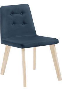 Cadeira Caqui F57-1 Veludo – Daf Mobiliário - Azul Marinho