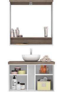 Gabinete Para Banheiro Com Espelheira Verona Siena Móveis Milano/Branco