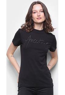Camiseta Forum Básica Ancestry Feminina - Feminino-Preto