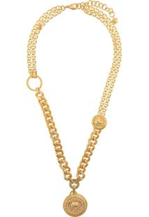Versace Embellished Medusa Pendant Necklace - Dourado