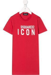 Dsquared2 Kids Vestido Icon De Algodão - Vermelho