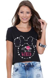 Blusa Feminina Cropped Minnie Disney