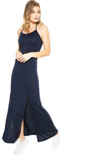 Vestido Fiveblu Longo Fenda Azul-Marinho