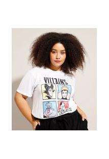Camiseta Plus Size Cruella Manga Curta Decote Redondo Branca