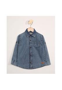 Camisa Jeans Infantil Manga Longa Com Bolso Azul Escuro
