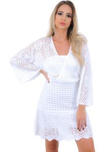 Vestido Curto Livora Tricot Manga Flare Branco