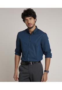 Camisa Masculina Comfort Manga Longa Azul Petróleo