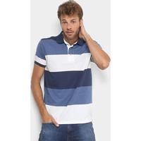 Camisa Polo Aleatory Listrada Fio Tinto Masculina - Masculino-Azul+Branco 05899f061f