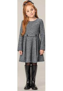 Vestido Cinza Evasê Em Malha Tweed